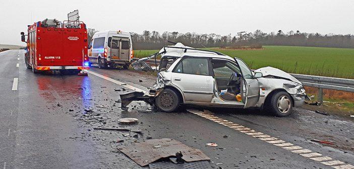 Voldsomt trafikuheld